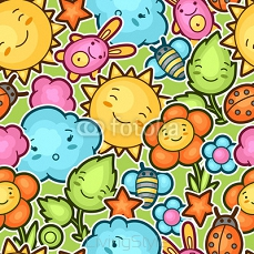 Seamless kawaii child pattern with cute doodles. Spring collection of cheerful cartoon characters sun, cloud, flower, leaf, beetles and decorative objects 101131201