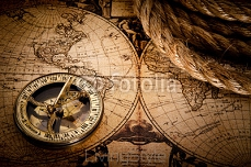 old compass and rope on vintage map 1752 49267764