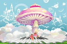 Illustration: The Dream World of Happy Life. Doodled Castle, Fruit in the Sky. The Huge Mushroom House and The Piano Keys on the Grass. Realistic Cartoon Style Creative Idea Design. 95148015