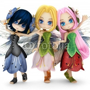 Cute toon fairy friends posing together on a white isolated background. Part of a little fairy series. 88711049