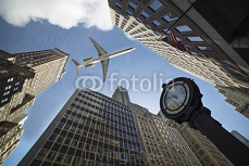 air lines flying between the skyscrapers in New York 88216130