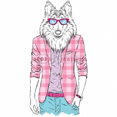 Dog in a jacket and sunglasses. Vector illustration. Animal in fashionable clothes. Print for postcards, posters, clothing or accessories 111620920