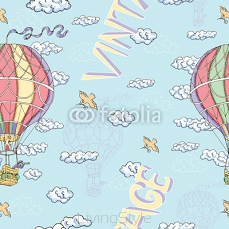 Seamless background with hot air balloon and clouds 99587202