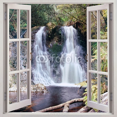 Open window view to Hogarth Falls, Tasmania 97732283