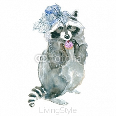 raccoon hipster. Animal in a hat. Fashionable raccoon. Drawing watercolor. 111469467