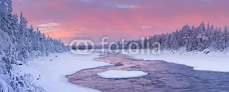 Sunrise over a river in a winter landscape, Finnish Lapland 91621826