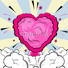 Explosion in form of heart. Isolated retro style comic book background. 123145583