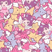 Seamless pattern with doodle. Vector kawaii illustration. 45779573