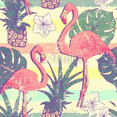 Seamless pattern with flamingo birds and pineapples 103007254