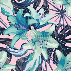 blue lily and leaves seamless background 93890850