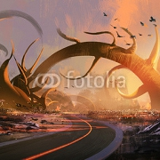 painting of fantasy landscape with a mysterious trees at sunset 86590377