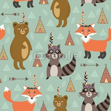 Tribal seamless pattern with cute animals 106242827