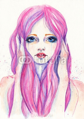 Portrait of crying girl with pink hair. Watercolor illustration 104576324