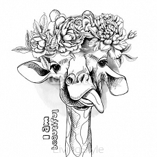 Image Portrait of a giraffe in the flowers. Vector illustration. 108370821