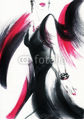 woman with elegant dress .abstract watercolor .fashion background 98493729