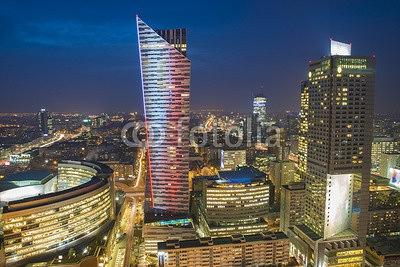 Warsaw city with skyscrapers at night 127021857