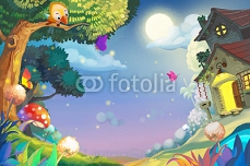 Illustration: Amazing Night with FireFlies. Little Cottage with Warm Lights. Cute Bird on the Tree. Moon and Stars. Realistic Cartoon Style Scenery / Wallpaper / Background Design.