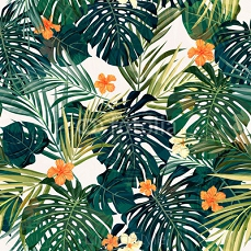 Bright colorful tropical seamless background with leaves and 83854807