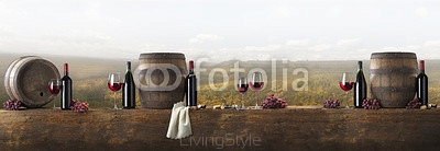 still life with red wine on vineyard background 127084948