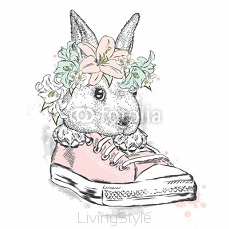 Cute rabbit in a flower wreath. Hare sitting in sneakers. Vector illustration for greeting card, poster, or print on clothes. Fashion & Style. 122723338