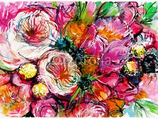 pink bouquet of flowers with two white buttercups / peony/ chamomile/ rose/ watercolor painting 88694708