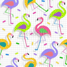 Retro 80s flamingo pattern background 88410766