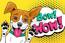 Bow wow pop art dog. Funny happy surprised dog  with open mouth rising his paws up. Vector illustration in retro comic style. Vector pop art background. 117743080