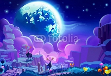 Illustration: The Other planet's Environment. Realistic Cartoon Style. Sci-Fi Scene / Wallpaper / Background Design. 93981766