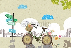 Illustration: Your Bicycle is Waiting For You! He Waits So Long That New Roots and Flowers Grow! Don't Let Him Wait Again. Go For a Ride Freely! Realistic Fantastic Cartoon Style Creative Idea Design. 96147913
