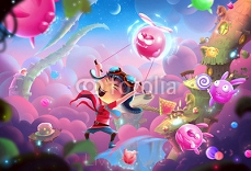 Creative Illustration and Innovative Art: A Naughty Kid's Fantastic Happy World and WonderLand! Realistic Fantastic Cartoon Style Artwork Scene, Wallpaper, Story Background, Card Design 101455747