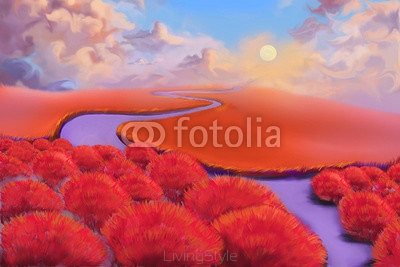 Creative Illustration and Innovative Art: Red Forest. Realistic Fantastic Cartoon Style Artwork Scene, Wallpaper, Story Background, Card Design