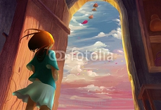Illustration: Illustration: The Girl Lived by the Sea. Song of the Sea Series. Removed the Flying Whale. Fantastic / Realistic / Cartoon Style. Wallpaper / Background / Scene Design 94457213