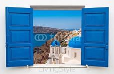 Window with view of caldera and church with blue domes , Oia, is 102129954