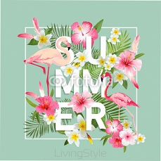 Tropical Flowers Background. Summer Design. Vector. Flamingo Background 105724966