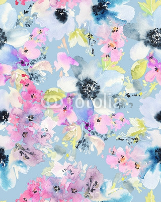 Seamless pattern with flowers watercolor. Gentle colors. 98608169