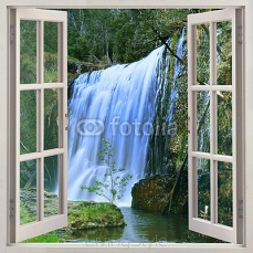 Open window to Guide Falls, Alpaca Park, North West of Tasmania just outside Burnie, Auastralia 106415291