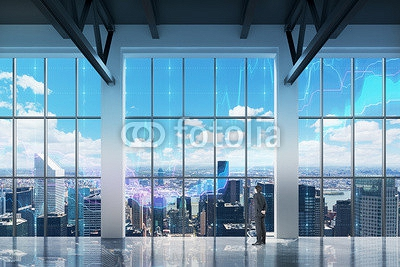Businessman looking through the window in office 80980304