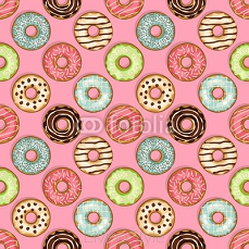 donuts seamless pattern on pink background 127520335