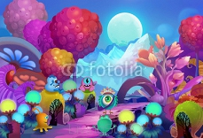 Illustration: The Big Eye says goodbye to his fellow buddies and embarks on a series of colorful adventures of discovering the new world. Realistic / Cartoon Style. Scene / Wallpaper Design. 94383469