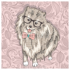 Hipster spitz with glasses and bowtie. Cute puppy illustration f 77955511