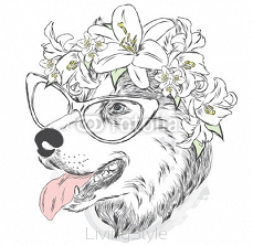 Dog in a wreath. Vector  for a card or poster. Print on clothes. 113549372
