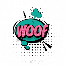 Comic sound effects pop art word Lettering Woof 119619488