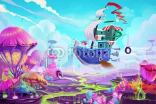 Illustration: Flying to a Mystery Wonderland. Realistic Fantastic Cartoon Style Artwork Scene, Wallpaper, Game Story Background, Card Design