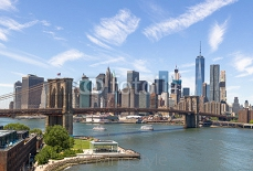 New York City Manhattan downtown buildings skyline Brooklyn Bridge 113859554