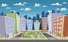 Vector illustration of a city street with trees and buildings 26060198