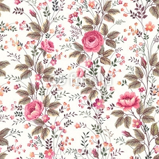 seamless floral rose pattern on white background 121971022