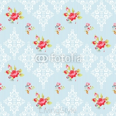 Seamless Pattern with red roses and damask elements 98893984