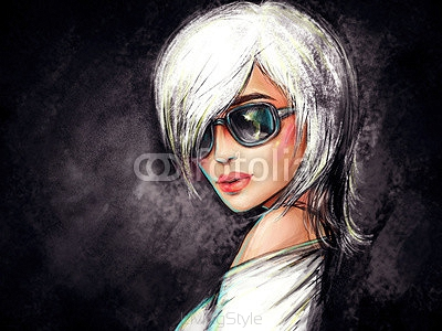 woman with glasses. fashion illustration 105019820