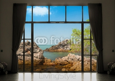 Silhouettes of window with a curtain, sea view background 113671052