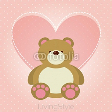 cute bear and heart icon over pink background. vector illustration 127511619